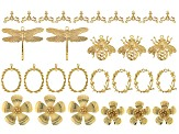 Assorted Gold Tone Pendant & Connector Findings in 6 Styles 29 Pieces Total