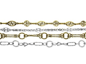 Unfinished Chain Set of 4 Styles in Antique Silver & Gold Tone appx 18