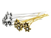 Headpins in 5 Styles in Antique Silver Tone & Antique Gold Tone 100 Pieces Total