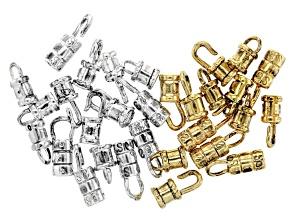 Fancy Crimp Set in 3 Styles in Antique Silver & Antique Gold Tones Appx 30 Pieces Total