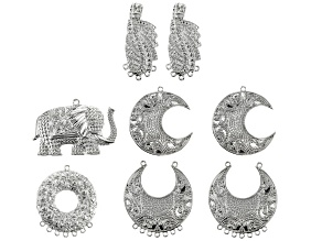 Indonesian Inspired Focal Set in 5 Styles in Silver Tone 8 Pieces in Total