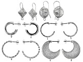 Indonesian Inspired Earring Findings in 6 Styles in Silver Tone 6 Sets Total