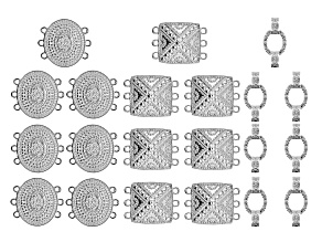Indonesian Inspired Connector Set in 3 Styles in Silver Tone 21 Pieces Total