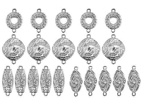 Indonesian Inspired Connector Set in 4 Styles in Silver Tone 20 Pieces Total