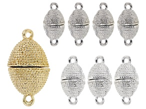 Oval Magnetic Clasp Kit In Gold Tone & Silver Tone Includes Assorted Sizes 8 Pieces Total