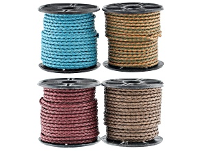Braided Cotton Bolo Cord 2mm Diameter in 4 Assorted Colors Appx 10 Meters Each