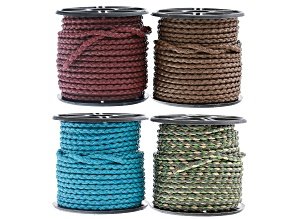 Braided Cotton Bolo Cord 2.5mm Diameter in 4 Assorted Colors Appx 10 Meters Each