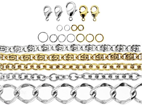 Iron Chain Kit in Antiqued Silver & Gold Tone Set of 5 Styles Fancy Chains includes Findings