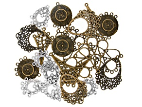 Floral Chandelier Component Kit in 5 Styles in Antiqued Brass & Silver Tones 22 Pieces Total