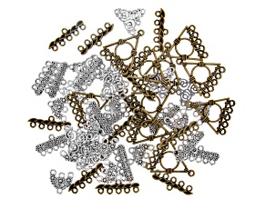 Fancy End Connectors Kit in Brass & Antiqued Silver Tone in 5 Styles 50 Pieces Total