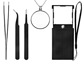 Crafter's Kit includes LED Multipurpose Magnifier,  Magnifier w/ Chain, & 3 piece Tweezer Set
