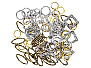 Fancy Spacer Rings Kit in Antiqued Silver, Gold, & Brass Tone in 4 Styles 80 Pieces Total