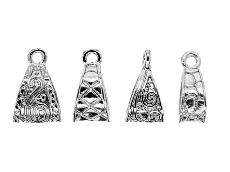 Indonesian Inspired Bail Kit in Silver Tone in 4 Styles 40 Pieces Total