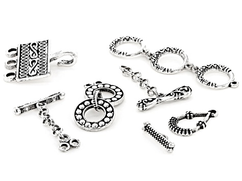 Indonesian Design Toggle Clasp Kit in Antiqued Silver Tone in 4 Styles 12 Clasps Total