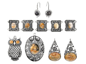 Indonesian Inspired Focal & Component Set in Antiqued Silver Tone 11 Pieces Total