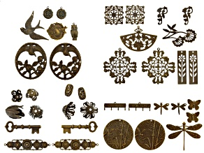 Vintaj Findings Assortment in Natural Brass in 22 Styles 38 Pieces Total