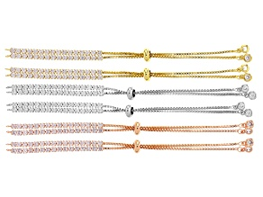 Bolo-style Bracelet Foundation Kit with CZ accents in Silver Tone, Gold Tone, & Rose Tone.