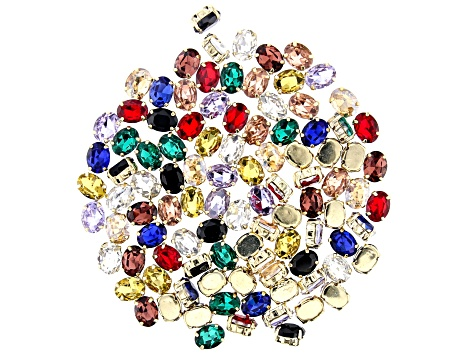 Glass Crystal Connector Set in Yellow Gold Tone 10 Assorted Colors 100 Pieces Total
