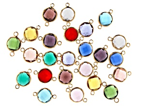 Glass Crystal Connector Set in Gold Tone  12 Birthstone Inspired Colors 24 Pieces Total