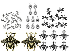 Insect Charm Kit in 5 Styles in Antiqued Silver Tone and Antiqued Gold Tone 48 Pieces Total