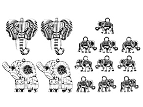 Elephant Component Kit in 3 Styles in Antiqued Silver Tone 14 Pieces Total