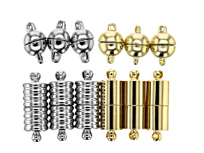 Magnetic Clasp Set in Silver Tone and Gold Tone 12 Clasps Total