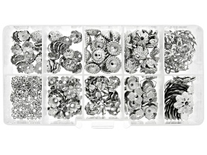 Assorted Bead Cap Set in 10 Styles in Silver Tone 250 Pieces Total with Storage Case