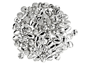 Metal Bead Set in 4 Styles in Silver Tone 100 Pieces Total