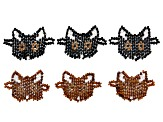Cat Connector Set of 6 in Brown & Black