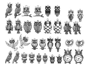 Owl Focal Set in 17 Designs in Silver Tone 34 Pieces Total