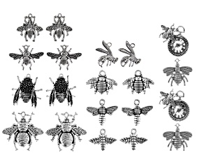 """Bee On Time"" Bee Focal Set in 10 Designs Silver Tone 20 Pieces Total"