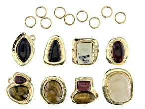 Organic Shaped Resin Connector Set of 8 in Gold Tone with Jump Rings 17 Pieces Total