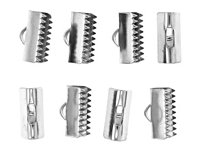 Stainless Steel Appx 13mm Ribbon Crimp Ends Appx 8 Pieces