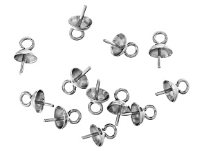 Stainless Steel Appx 8x5mm Bail Pin with Cup Findings Appx 12 Pieces