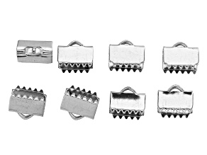 Stainless Steel Appx 8mm Ribbon Crimp Ends Appx 8 Pieces