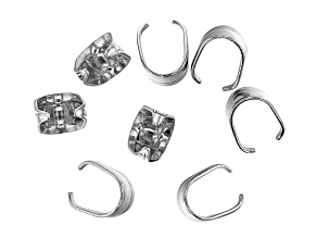 Stainless Steel Appx 10mm Pinch Bail Findings Appx 8 Pieces