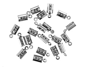 Stainless Steel Appx 9mm Cord Crimp Ends Appx 20 Pieces