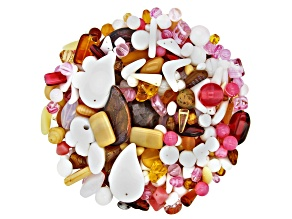 "Czech Glass Beads 1lb Bag Of Assorted Shapes And Sizes in ""Strawberry Shortcake"""