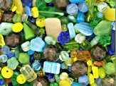 "Czech Glass Beads 1lb Bag Of Assorted Shapes And Sizes in ""Sunny Meadow"""