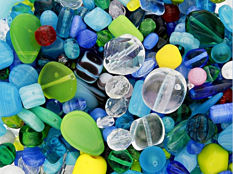 "Czech Glass Beads 1lb Bag Of Assorted Shapes And Sizes in ""Blue River"""