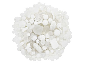 Czech Glass Beads 1/2lb Bag Of Assorted Shapes And Sizes in White Opaques & White Crystal Shades