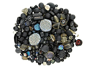 Czech Glass Beads 1/2lb Bag Of Assorted Shapes And Sizes in Black Shades