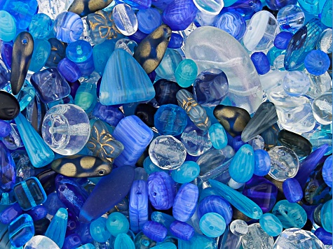 "Czech Glass Beads 1lb Bag Of Assorted Shapes And Sizes in ""Starry Twilight"""