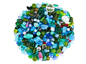 "Czech Glass Beads 1lb Bag Of Assorted Shapes And Sizes in ""Morning Dew"""