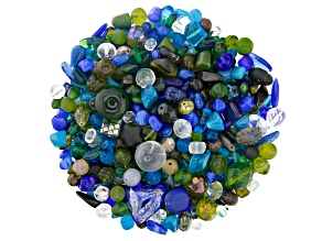 "Czech Glass Beads 1lb Bag Of Assorted Shapes And Sizes in ""Midnight"""