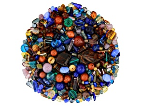 "Czech Glass Beads 1lb Bag Of Assorted Shapes And Sizes in ""Mahogany Blues"""