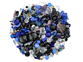 "Czech Glass Beads 1lb Bag Of Assorted Shapes And Sizes in ""Crystal Nightfall"""
