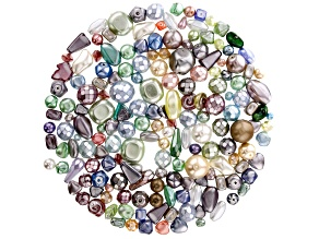 Pearlized Czech Glass Beads 1/2lb Bag Of Assorted Shapes And Sizes in Pastel Colors
