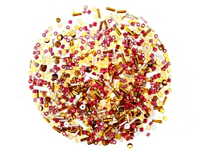 """1oz Czech Glass Seed Bead Mix in Assorted Shapes in """"Cream Soda"""""""