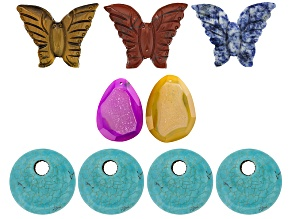 Multi-Stone Focal Bead Set of 9 in 3 Styles Carved Butterfly, Coin Shape & Pear